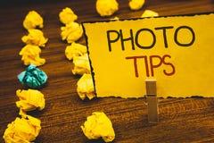 Handwriting teksta fotografii porady Pojęcia znaczenia propozycje brać dobre obrazek rada dla wielkiego photosgraphyClothespin tr Obrazy Royalty Free