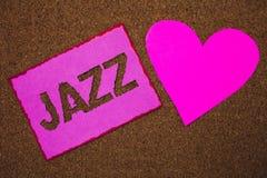 Handwriting teksta jazz Pojęcia znaczenia typ muzyka czarnego Amerykańskiego początku gatunku rytmu Muzykalnego Silnego papieru p Obraz Stock