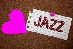 Handwriting teksta jazz Pojęcia znaczenia typ muzyka czarnego Amerykańskiego początku Muzykalnego gatunku rytmu kawałka notatnika Fotografia Royalty Free