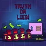 Handwriting teksta kłamstwa Lub prawda Pojęcia znaczenie Decyduje między fact lub mówić kłamstwo wątpliwości zamieszanie royalty ilustracja