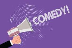 Handwriting teksta komedia Pojęcia znaczenia Fachowa rozrywka Żartuje nakreślenia Robi widowni śmiać się humor ilustracji