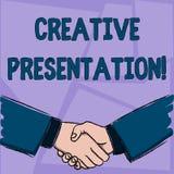 Handwriting teksta Kreatywnie prezentacja Pojęcia znaczenia proces przedstawiać temat widownia biznesmenów Trząść ilustracji