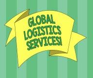 Handwriting teksta logistyki Globalne usługi Pojęcia znaczenie Łączy krytycznych składniki zaopatrzeniowego łańcuchu Składający 3 ilustracji