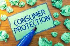 Handwriting teksta ochrona konsumentów Pojęcia znaczenia uczciwego handlu prawa zapewniać konsument prawic ochronę obraz stock