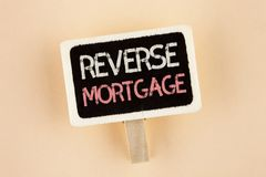 Handwriting teksta odwrotności hipoteka Pojęcia znaczenia właściciela domu emerytura opci miarowej zapłaty Starsza korzyść pisać  Zdjęcia Stock