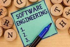 Handwriting teksta oprogramowania inżynieria Pojęcia znaczenia programa rozwój w Systematycznym Wymiernym podejściu obraz stock