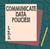 Handwriting teksta pisać Komunikuje dane polisy Pojęcia znaczenia ochrona przekaz poufni dane ilustracji