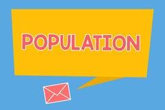 Handwriting teksta populacja Pojęcie znaczy Wszystkie mieszkanów szczególny miejsce Zaludnia gęstość ilustracja wektor