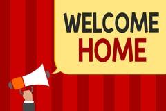 Handwriting teksta powitania dom Pojęcia znaczenia powitań nowych właścicieli Wyrażeniowej Pobytowej słomianki mężczyzna mienia m ilustracji