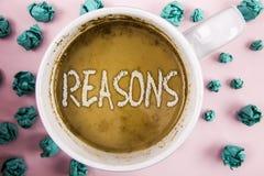 Handwriting teksta powody Pojęcia znaczenie Powoduje wyjaśnień uzasadnienia dla akci pisać na kawie wydarzenie motywaci lub ja obrazy royalty free