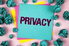 Handwriting teksta prywatność Pojęcia znaczenia prawica utrzymywać sprawy osobiste i informację jako sekret pisać na Kleistym Nut zdjęcie royalty free