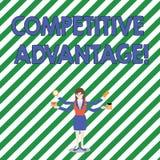 Handwriting teksta przewaga konkurencyjna Poj?cia znaczenia warunek kt?ry stawia firmy w korzystnie pozycji ilustracja wektor