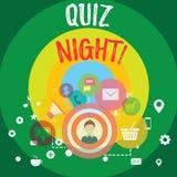 Handwriting teksta quizu noc Pojęcia znaczenia wieczór testa wiedzy rywalizacja między jednostki fotografią Digital royalty ilustracja