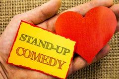 Handwriting teksta seans Stoi Up komedię Biznesowy pojęcie dla rozrywka klubu zabawy przedstawienia komedianta nocy pisać na Klei zdjęcie stock