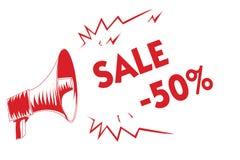 Handwriting teksta sprzedaż 50 Pojęcie znaczy A promo cenę rzecz przy 50 procentów markdown megafonu Czerwonego głośnika znacząco royalty ilustracja