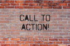 Handwriting teksta wezwanie akcja Pojęcie znaczy najwięcej ważnej części online cyfrowa kampanii marketingowej ściany z cegieł sz royalty ilustracja