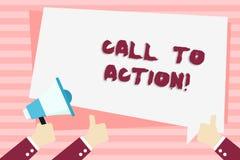 Handwriting teksta wezwanie akcja Pojęcie znaczy najwięcej ważnej części online cyfrowy kampanii marketingowej ręki mienie ilustracji