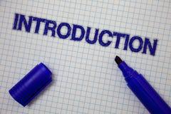 Handwriting teksta wprowadzenie Pojęcia znaczenia Pierwszy część dokument Formalna prezentacja widownia Obciosywał notatnik stron obrazy stock