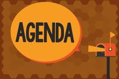 Handwriting teksta writing agenda Pojęcie znaczy robić liście rzeczy dyskutował przy formalnym znacząco spotkaniem ilustracji
