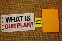 Handwriting teksta writing Co Jest Nasz planu pytaniem Pojęcia znaczenia misi Purpose agenda Strategize Brainstorming Jutowego wo Zdjęcia Royalty Free