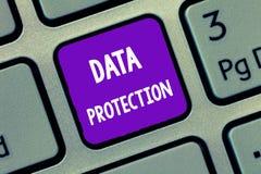 Handwriting teksta writing dane ochrona Pojęcia znaczenia gacenia IP adresy i osobiści dane od szkodliwego oprogramowania obraz royalty free