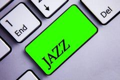 Handwriting teksta writing jazz Pojęcia znaczenia typ muzyka czarnego Amerykańskiego początku Muzykalnego gatunku rytmu klawiatur Fotografia Stock