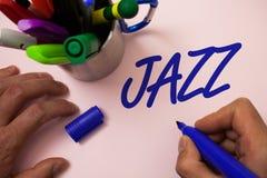 Handwriting teksta writing jazz Pojęcia znaczenia typ muzyka czarnego Amerykańskiego początku Muzykalnego gatunku rytmu Silny męż Obrazy Stock