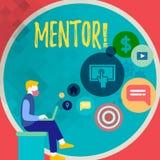 Handwriting teksta writing mentor Pojęcia znaczenia osoba która daje radzie lub poparciu młody mniej doświadczony royalty ilustracja