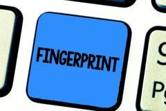 Handwriting teksta writing odcisk palca Pojęcia znaczenia wrażenie lub ocena robić na powierzchni demonstruje konem palca zdjęcie royalty free
