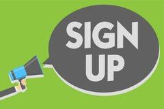 Handwriting teksta writing Podpisuje Up Pojęcia znaczenia use rejestrować w strony internetowej drużyny szkole wyższa lub blogu m royalty ilustracja
