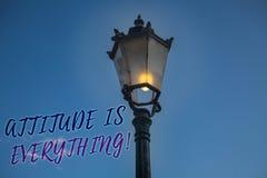 Handwriting teksta writing postawa Jest Everything Pojęcia znaczenia Osobistego światopoglądu orientaci zachowania światła poczta obrazy royalty free