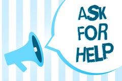 Handwriting teksta writing Pyta Dla pomocy Pojęcia znaczenia prośba poparcie pomoc potrzebował Fachowego rada megafonu loudspea ilustracja wektor