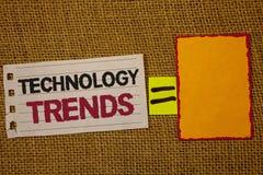 Handwriting teksta writing technologii trendy Pojęcia znaczenie Wykazywać tendencję Nowożytnego Wirusowego Postępowego rozwoju Mo Zdjęcia Royalty Free