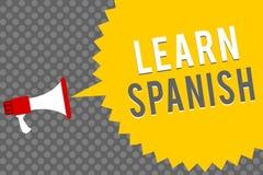 Handwriting teksta writing Uczy się hiszpańszczyzny Pojęcia znaczenia Przekładowy język w Hiszpania słownictwa dialektu mowy mega ilustracja wektor