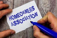 Handwriting teksta writing właścicieli domu skojarzenie Pojęcia znaczenia organizacja z opłatą dla utrzymań Zakazywałam społeczno zdjęcia royalty free