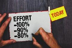 Handwriting teksta writing wysiłek 100 90 80 Pojęcia znaczenie Równy determinaci dyscypliny motywaci ręki chwyta czerni markiera  obrazy stock