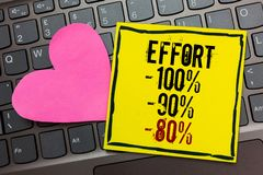 Handwriting teksta writing wysiłek 100 90 80 Pojęcia znaczenie Równy determinaci dyscypliny motywacja Pisać na czerni graniczącym zdjęcie stock