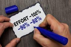 Handwriting teksta wysiłek 100 90 80 Pojęcia znaczenie Równy determinaci dyscypliny motywaci pokładu ręki chwyta Szary drewniany  zdjęcia stock