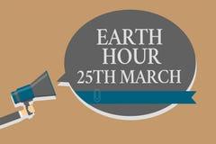 Handwriting teksta ziemi godzina 25Th Marzec Pojęcia znaczenia symbolu oddanie planetować Uorganizowanego Światowego funduszu col Obrazy Stock