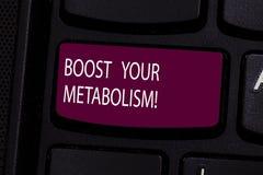 Handwriting teksta zwiększenie Twój metabolizm Pojęcia znaczenia mknięcie w górę awarii karmowego kaloria naboru Klawiaturowy klu zdjęcie royalty free