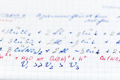 Handwriting test paper on chemistry with teacher`s corrections Stock Image