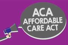 Handwriting text Aca Affordable Care Act. Concept meaning providing cheap treatment to patient several places Man holding megaphon. E loudspeaker speech bubble Stock Photo