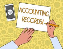 Handwriting text Accounting Records. Concept meaning Manual or computerized records of assets and liabilities Top View stock illustration