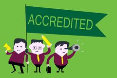 Handwriting text Accredited. Concept meaning Having credits authority to something Certified Authorized.  stock photos