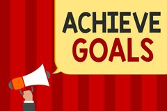 Handwriting text Achieve Goals. Concept meaning Results oriented Reach Target Effective Planning Succeed Man holding megaphone lou. Dspeaker speech bubble stock illustration