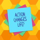 Handwriting text Action Changes Things. Concept meaning overcoming adversity by taking action on challenges Multiple. Layer of Blank Sheets Color Paper royalty free illustration