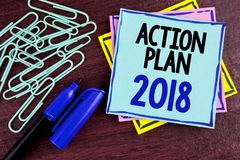 Handwriting text Action Plan 2018. Concept meaning Plans targets activities life goals improvement development written on Sticky N. Handwriting text Action Plan Royalty Free Stock Image