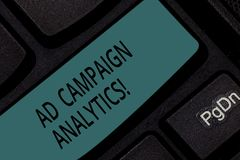 Handwriting text Ad Campaign Analytics. Concept meaning monitor campaigns and their respective outcomes Keyboard key. Intention to create computer message royalty free stock image