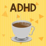 Handwriting text Adhd. Concept meaning Mental health disorder of children Hyperactive Trouble paying attention.  stock illustration