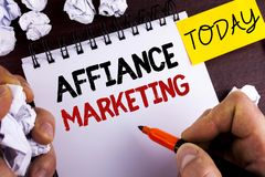 Handwriting text Affiance Marketing. Concept meaning joining two or more companies in same field mutual goal written by Man on Not. Handwriting text Affiance Royalty Free Stock Photo